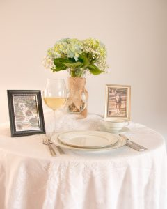 Sample of framed pictures at placesetting